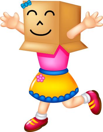 Cute human cardboard running with cheerful
