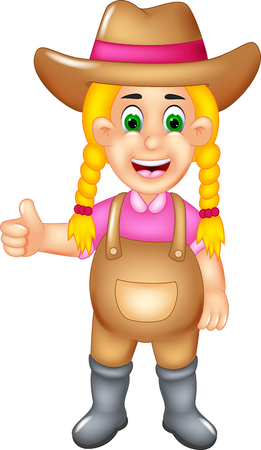 beauty farmer cartoon standing with smile and thumb up Stock Photo