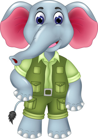 cute elephant cartoon standing with smile Stock Photo