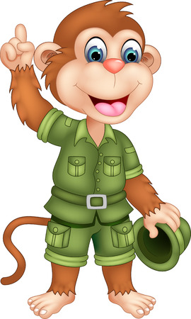 cute monkey cartoon waving with pointing and smile