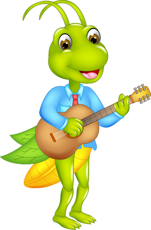 cute grasshopper cartoon standing playing guitar with smiling Stock Photo