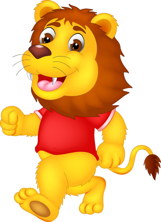 cute lion cartoon running with laughing and waving Stock Photo