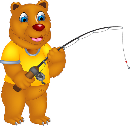 cute bear cartoon standing with smile and fishing