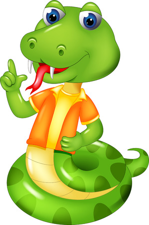 funny snake cartoon standing with smile and pointing Stock Photo