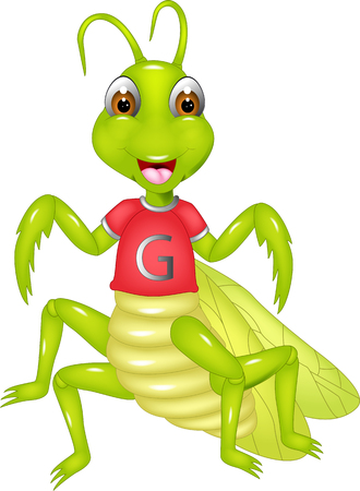 funny grasshopper cartoon standing with smile and waving
