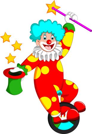 Payaso divertido en traje rojo durante dibujos animados de atracción para su diseño Ilustración de vector