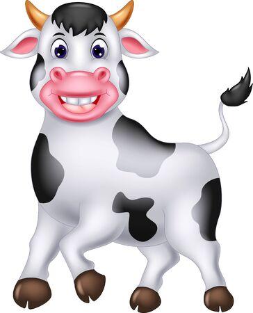 Divertente cartone animato di mucca bianca per il tuo design