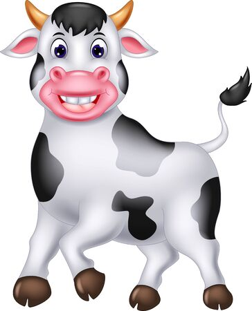 Funny White Cow Cartoon For Your Design