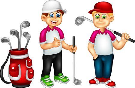 Divertidos dibujos animados de golfistas para su diseño Ilustración de vector