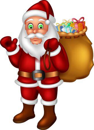 Santa rouge drôle avec la bande dessinée de cadeaux pour votre conception