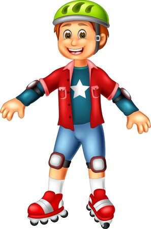 Funny Boy Playing Roller Skates Cartoon For Your Design Çizim