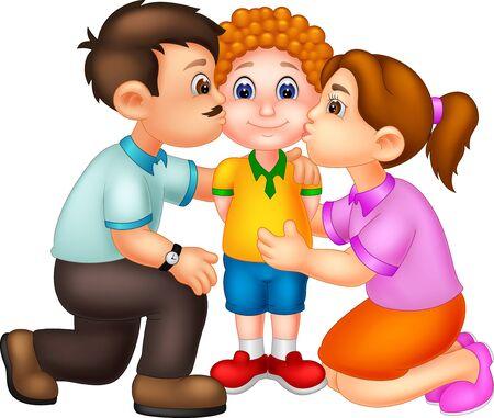 Linda mamá y papá besando a su hijo dibujos animados para su diseño