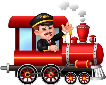 Maquinista divertido con dibujos animados de tren rojo para su diseño