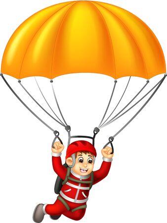 Historieta divertida del muchacho del paracaidista para su diseño Ilustración de vector