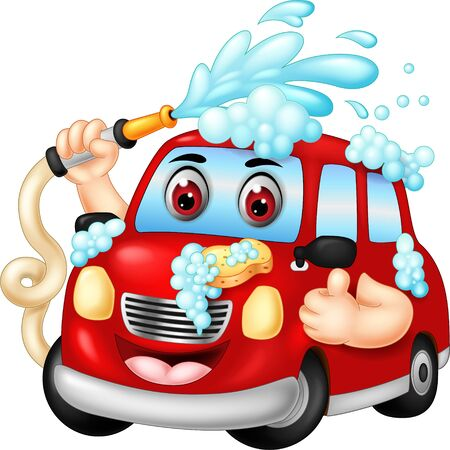 Funny Red Car Washing Cartoon For Your Design Vectores