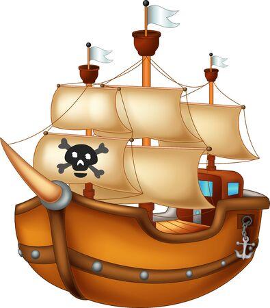 Dessin animé drôle de bateau en bois pour votre conception