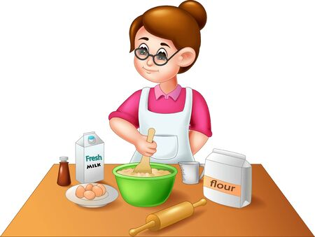 Funny Girl Cooking Cartoon For Your Design