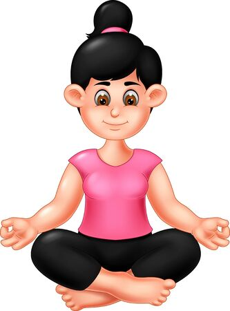Funny Girl Doing Yoga Cartoon For Your Design Banque d'images - 128654774