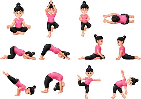 Funny Girl Doing Yoga Cartoon For Your Design