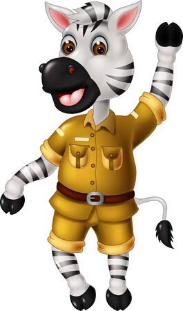Funny Zebra In Green Uniform Cartoon for your design Illustration