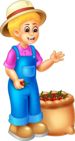 Funny Farmer With Tomato Cartoon For your design