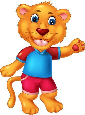 Śmieszne dziecko lew w niebieskiej koszuli kreskówka dla twojego projektu