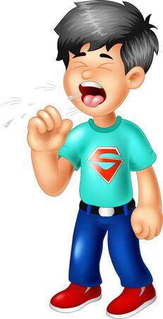 Hustenjunge im blauen Hemd-Cartoon für Ihr Design
