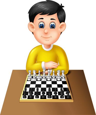 Funny Boy Playing Chess Cartoon For Your Design