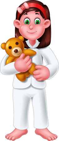 Funny Girl With Brown Doll Cartoon For Your Design