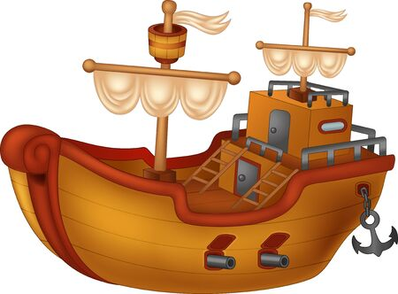 Funny Brown Wood Ship Cartoon for your design Illustration