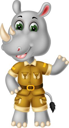 Grey Rhinoceros In Brown Uniform Cartoon for your design