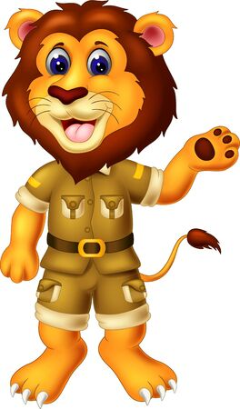 Funny Yellow Lion In Brown Uniform Cartoon for your design