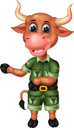 Funny Buffalo In Green Uniform Cartoon for your design