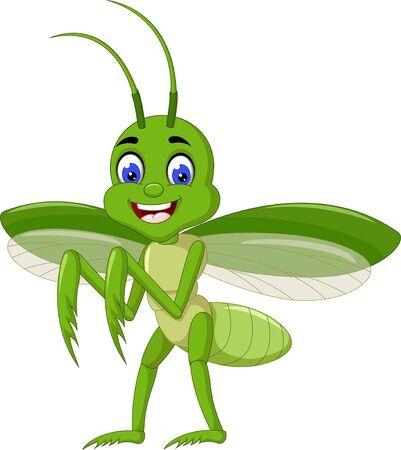 Funny Green Mantis Cartoon For Your Design