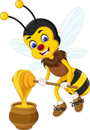 Funny Yellow Bee With Honey Cartoon For Your Design