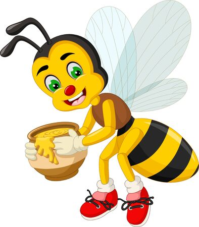 Funny Flying Yellow Bee With Honey Cartoon For Your Design