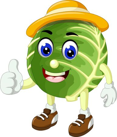Funny Green Cabbage Wearing Yellow Hat Cartoon For your Design