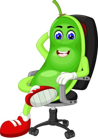 Funny Green Peas Sitting On Black Chair Cartoon For Your Design