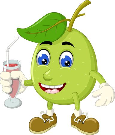 Funny Green Guava Cartoon For Your Design Illustration
