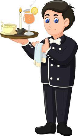 Funny Waiter Wearing Black Uniform Cartoon For YOur Design Foto de archivo - 129466062