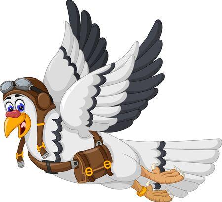 Funny White Black Bird Cartoon For Your Design