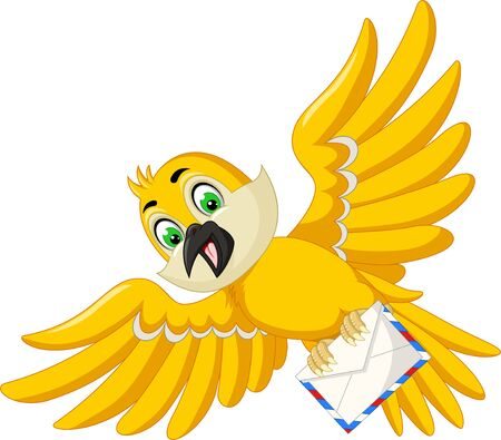 Funny Yellow Bird With Mail Cartoon For Your Design Stock Illustratie