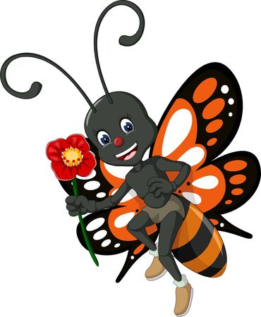 Funny Orange Black Butterfly With Red Flower Cartoon For Your Design Stockfoto - 129466064