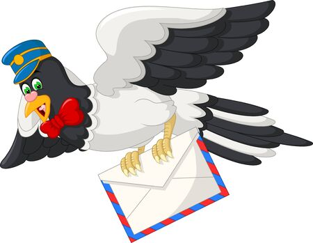 Funny White Black Bird With Mail Cartoon For Your Design Stock Illustratie