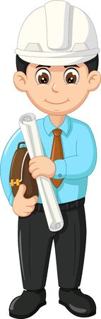 Architect In Blue Shirt With White Helmet Cartoon for your design Иллюстрация