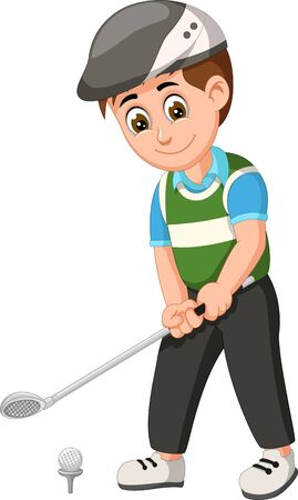 Funny Golfer Boy In Green Blue Shirt Cartoon for your design Иллюстрация