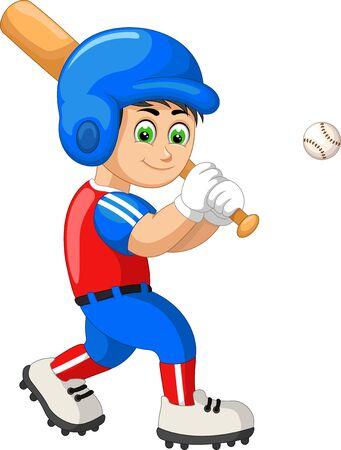 Funny Baseball Player In Red Blue Uniform Cartoon for your design Ilustração
