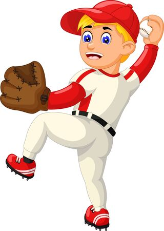 Funny Baseball Player In White Red Cartoon for your design