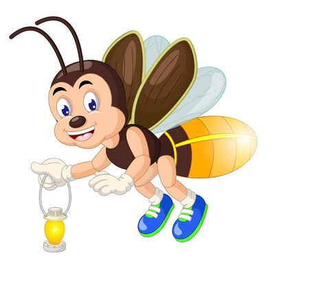 Funny Brown Yellow Fireflies Cartoon for your design