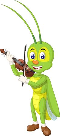 Funny Green Grasshopper Playing Brown Violin Cartoon for your design